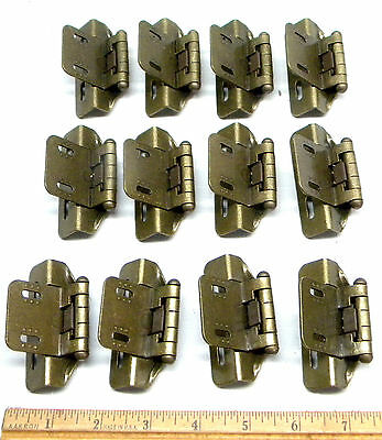 Lot Of 12 Plated Brass Finish Hinges Back Of Door & Edge Mount Hold Shut