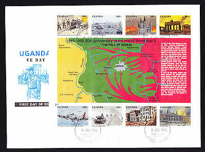Uganda 1995 VE First Day Cover 50th Anniversary Fall of Berlin stamp sheet FDC