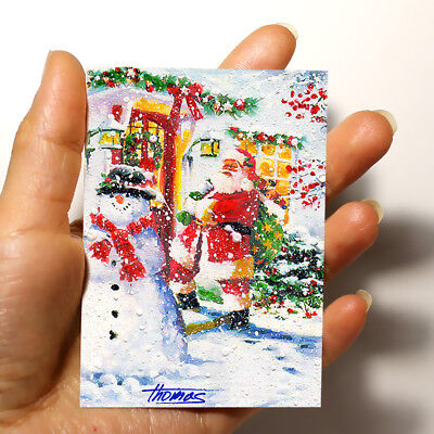 """ORIGINAL ART PICTURE WATERCOLOR PAINTING ACEO """"Santa and Snowman"""" Christmas gift"""