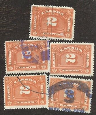 Revenue Stamps Canada # FCD 7, 2¢, 1935, customs duty, lot of 5 used stamps.