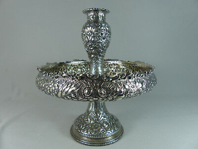 Rare 1876 Tiffany & Co Sterling Silver Repousse Epergne Compote Vase Centerpiece