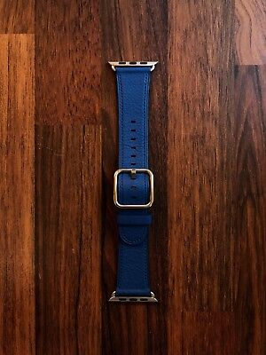 Apple Watch 42mm Strap Blue Leather Classic Buckle GREAT CONDITION RRP £149