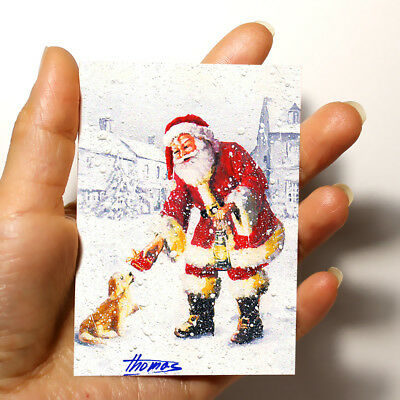 """ORIGINAL ART PICTURE WATERCOLOR PAINTING ACEO """"Santa and Puppy"""" Christmas gift"""