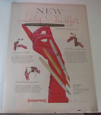 1958 original ad Lady Sheaffer's Pens art Pretty Long Gloved Hand