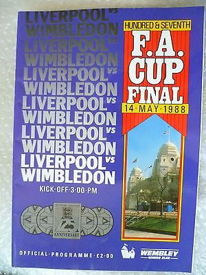 1988 FA Cup FINAL Programme Liverpool v Wimbledon, 14th May