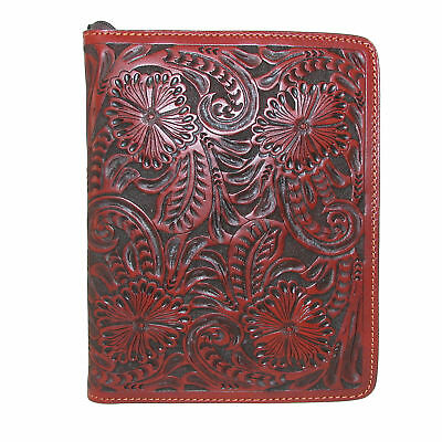 New 3 D Belt Company Antique Leather Bible Cover with Hand-Tooled Floral Pattern