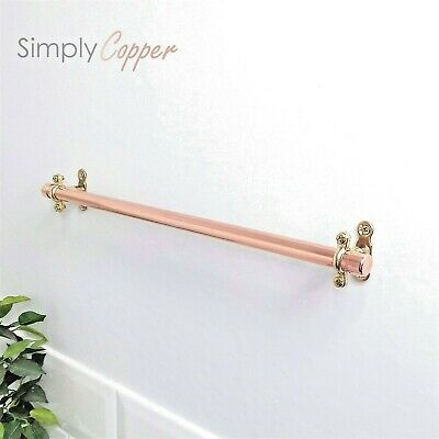 Copper Towel Rail / Towel Holder + Brass Fittings - Handmade Rose Gold