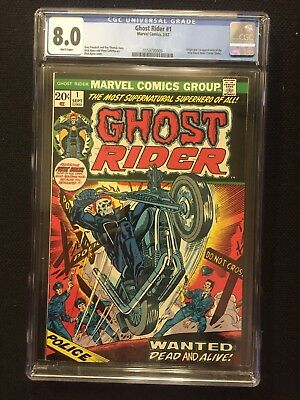 GHOST RIDER #1, (1973), CGC 8.0, White Pages, Marvel Comics, FREE SHIPPING