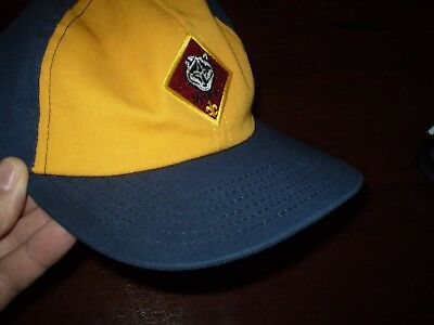 BSA BOY wolf CUB Scouts Hat BLUE yellow twill S/M Cap OF AMERICA USED