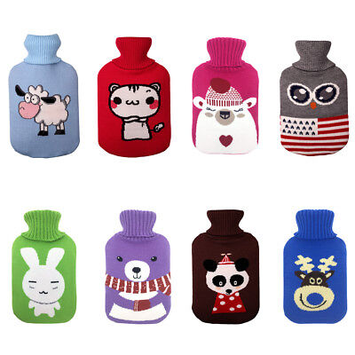 Hot Water Bottle Cover Novelty Knitted Animal Print Cover Warm 2L Litre Heat Pad