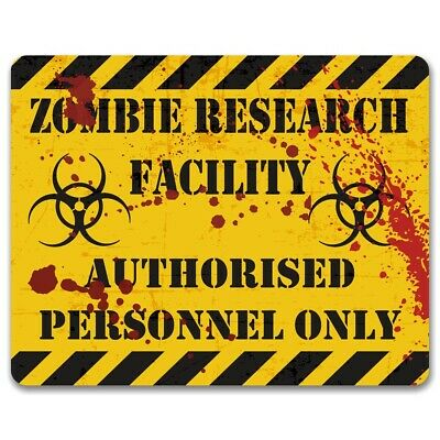 Zombie Research Facility - Metal Gaming Sign | Man Cave | Teenagers Bedroom