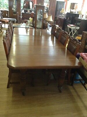 STUNNING Victorian Extending Mahogany Dining Table & Eight Leather Back Chairs