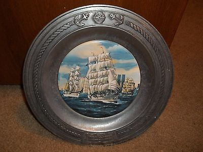 Danbury Mint Tall Ships Salute To America Pewter Collectible Plate Le