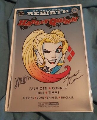 2017 SDCC DC Rebirth HARLEY QUINN #24 FOIL EXCLUSIVE ~ SIGNED CONNER PALMIOTTI