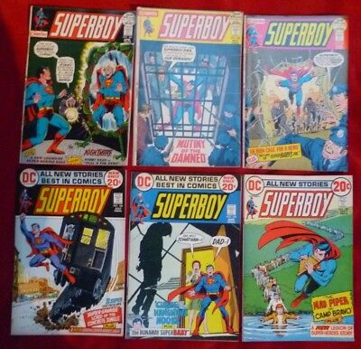 Lot of SIX (6) Superboy Comics #184, #186, #187, #188, #189, #190 Good Condition