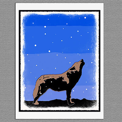 6 Christmas Cards Howling Wolf Winter Graphics Snow Art Note Greeting