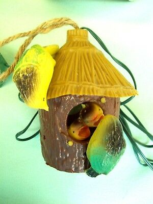 Vintage Electronic CHIRPING Bird House In Box Ornament WORKS!  Hard plastic CUTE