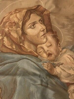 Beautiful Madonna And Child Belgian Tapestry Wall Hanging Virgin Mary & Jesus