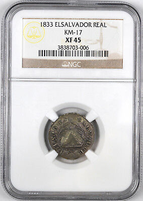 1833 El Salvador Real KM-17 ( Finest Known, Rare ) - NGC XF45 -