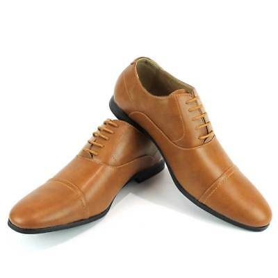Cognac / Brown Dotted Cap Toe Lace Up New Mens Shoes Modern BY AZAR MAN