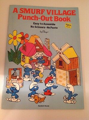 1982 Smurfs - A Smurf Village Punch-Out Book by Peyo - Rare Paper Building Fun