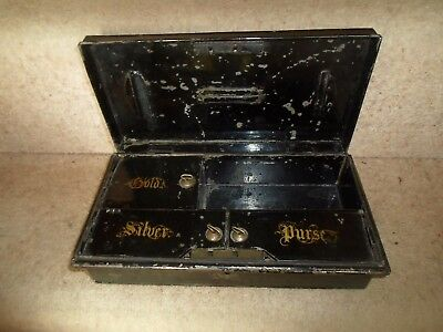 Rare Antique Metal Cash Tin With Internal Sections for GOLD, SILVER & PURSE