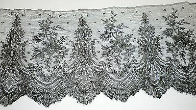 "Wide Vintage Antique Black Mourning Funeral Lace Trim Edging Chantilly 6"" X 28"""