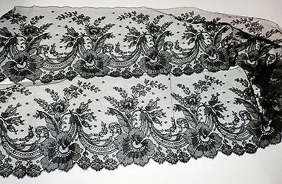 "Vintage Antique Black Mourning Funeral Lace Trim Edging Chantilly 6"" X 52"""