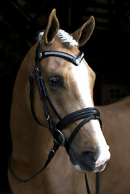 New Black Leather English Horse Bridle With Flash and Reins V Bling Browband