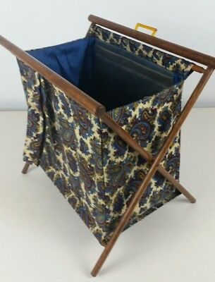 Vtg Wood Folding Sewing Knitting Basket Paisley Fabric Standing Caddy Blue Gold