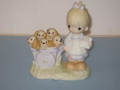 """Precious Moments """"God Loveth a Cheerful Giver"""" Figurine Free Puppies Signed 1977"""