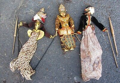 3 Beautiful Large Vintage Thai Rod And Marionette Puppets Shadow Thailand