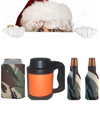 Holiday Christmas Gift Green Camo/Camouflage Beverage Insulators/Can Coolers