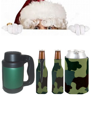 Holiday Christmas Gift Forest Camo/Camouflage Beverage Insulators/Can Coolers