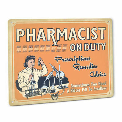 Pharmacy SIGN Pharmacist Vintage Drug Store Decor Female Apothecary In Uniform