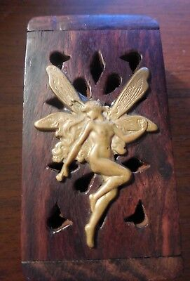 Vintage Small Wood Cutout Trinket Box w/ Brass Naked Female Fairy Dragonfly