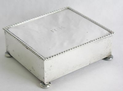 Vintage Hand Wrought Sterling Silver Hinged Jewelry Box w/Wood Liner & Ball Feet