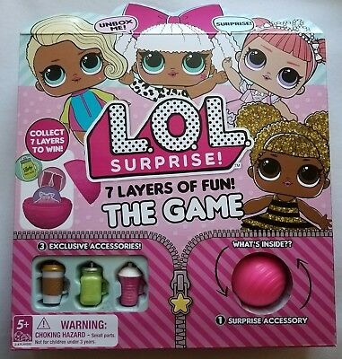 LOL SURPRISE 7 Layers of Fun! THE Board GAME w/ 3 EXCLUSIVE Doll ACCESSORIES NEW