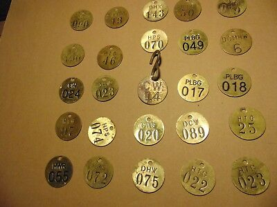 """Lot of 25 VINTAGE BRASS TAGS- 1.5"""" misc numbers- craft,steampunk,collage lot B"""