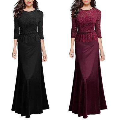 Women's Lace Ball Gowns 3/4 Sleeve Prom Bridesmaid Long Evening Party Dress Maxi