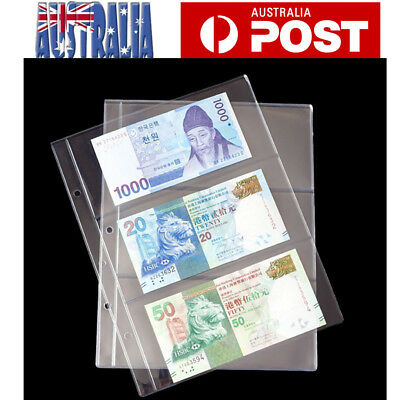10pcs 3 Pockets Money Bill Note Currency Holder PVC Collection Album Pages