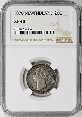 Newfoundland 1870 Silver 20 Cents NGC XF-40