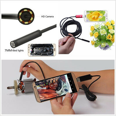2In1 Android USB 7mm 5M 67° Wide Angle 6LED Autos Endoscope HD Inspection Camera
