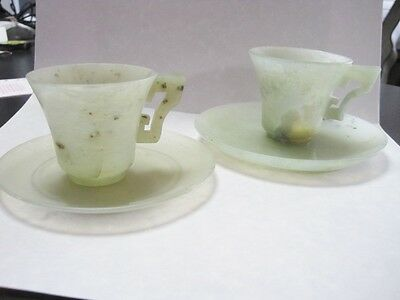 Pair Chinese Antique Jade Teacups Art Deco Style Beautiful Cabinet Pieces