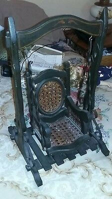 German Antique Doll Swing Wrought Iron and Wood