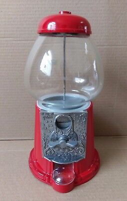 "1985 Carousel 11"" Red Metal Gumball Machine Glass Globe Bubble Gum WORKING"