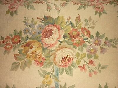 EXQUISITE FLORAL DESIGN ANTIQUE FRENCH AUBUSSON TAPESTRY for SOFA COVER