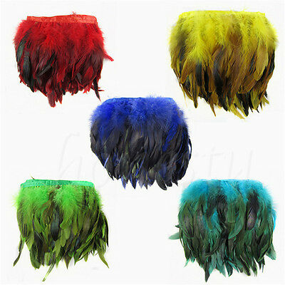 30CM/1M Rooster Hackle Coque Feather Fringe Craft Trim Sewing Costume Millinery