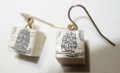 Vintage Handcrafted Earrings Scrimshaw Carved Whale Clipper Tall Ship