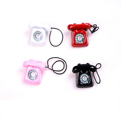 1:12 Old Style Telephone Model Dolls House Miniature Home Decor Phone FO